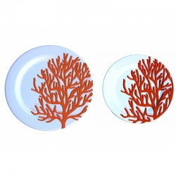 Set de 12 assiettes - Corail rouge