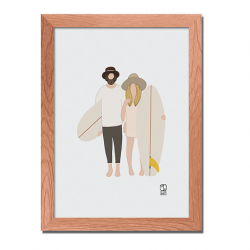 Illustration affiche Surf Culture - Couple