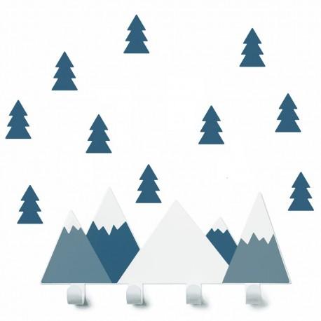 Porte manteaux Montagne. Bleu