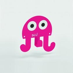Patère pieuvre rose