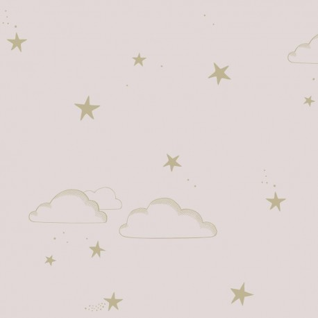 Papier peint étoiles et nuages - Rose et blanc