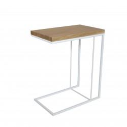 Table desserte métal et chêne - Blanche