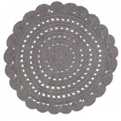Tapis rond au crochet - Gris