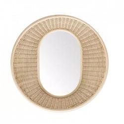 Miroir corbeille en rotin