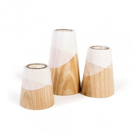 Ensemble 3 bougeoirs bois et blanc