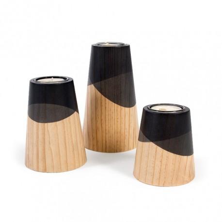 Ensemble 3 bougeoirs bois et noir