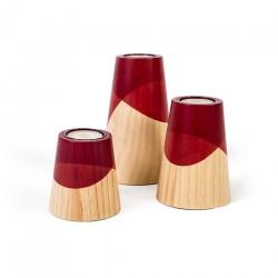 Ensemble 3 bougeoirs bois et rouge