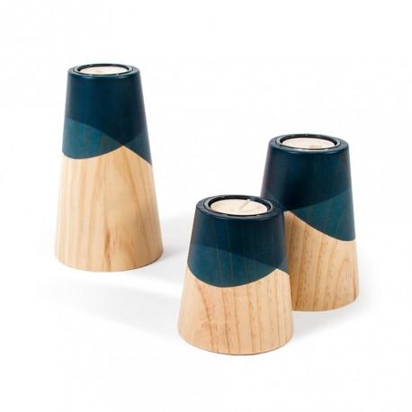 Ensemble 3 bougeoirs bois et bleu