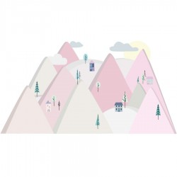 Sticker mural - Montagne - Rose