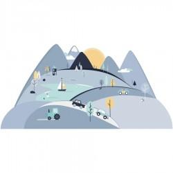 Sticker mural Montagne - Bleu foncé