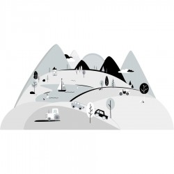 Sticker mural - Montagne - Gris