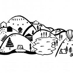 Sticker mural - Montagne - Noir