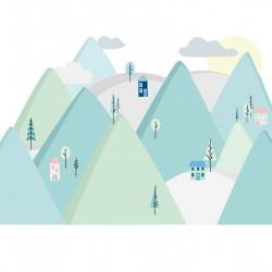 Sticker mural - Montagne - Vert menthe