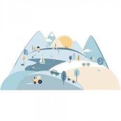 Sticker mural - Montagne - Bleu clair