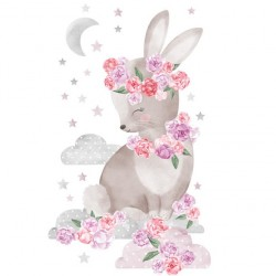 Sticker Lapin fleuri - Rose ou Bleu