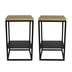 2 Tables de chevet noires - Chêne