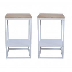 2 Tables de chevet blanches - Chêne