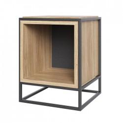 Table d'appoint et chevet noire et bois - Boxer caisson