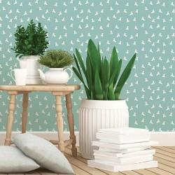 Papier peint vert et blanc - Cocottes