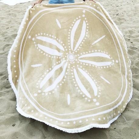 Serviette de plage ronde reversible beige