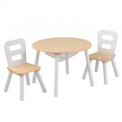 Table et 2 chaises - naturel et blanc