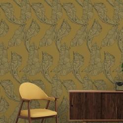 Papier peint - Grandes feuilles Moutarde