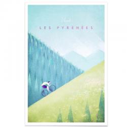 Affiche Cyclisme - Les Pyrénées