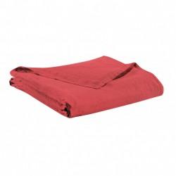 Drap plat en lin - Rouge Corail