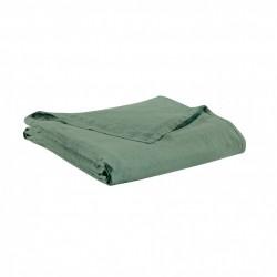 Drap plat en lin - Vert de gris