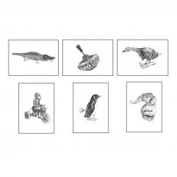6 Affiches - Jouets mécaniques