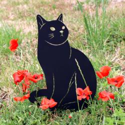 Figurine à planter - Chat noir ou rouille