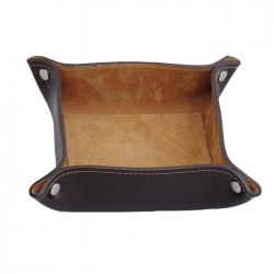 Vide poche en cuir carré - Chocolat