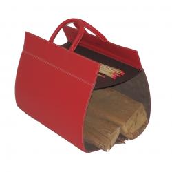 Porte bûches en cuir - Rouge