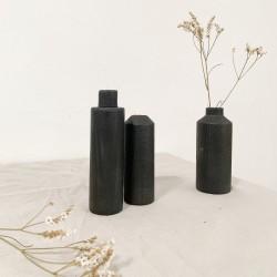 3 soliflores en bois brulé