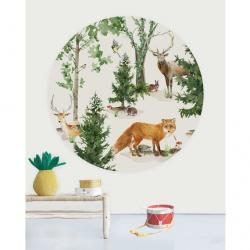 Papier peint rond - Animaux de la forêt