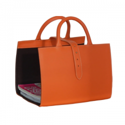 Porte revues en cuir - Orange