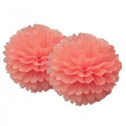 Pompoms en papier - Rose corail