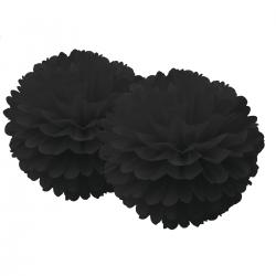 Pompons en dentelle papier - Noir