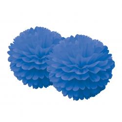Pompons dentelles en papier - Bleu