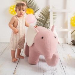 Pouf enfant Amigurumi - Eléphant