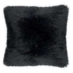 Coussin fausse fourrure - Noir