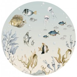 Sticker mural rond - Aquarium