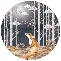 Sticker mural rond - Renard