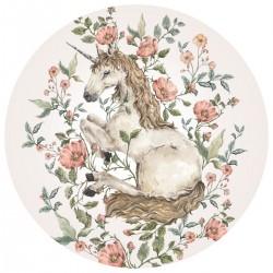 Sticker mural rond - Licorne