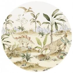 Sticker mural rond - Dinosaures