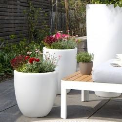 Pot de fleur lumineux H39 - Blanc