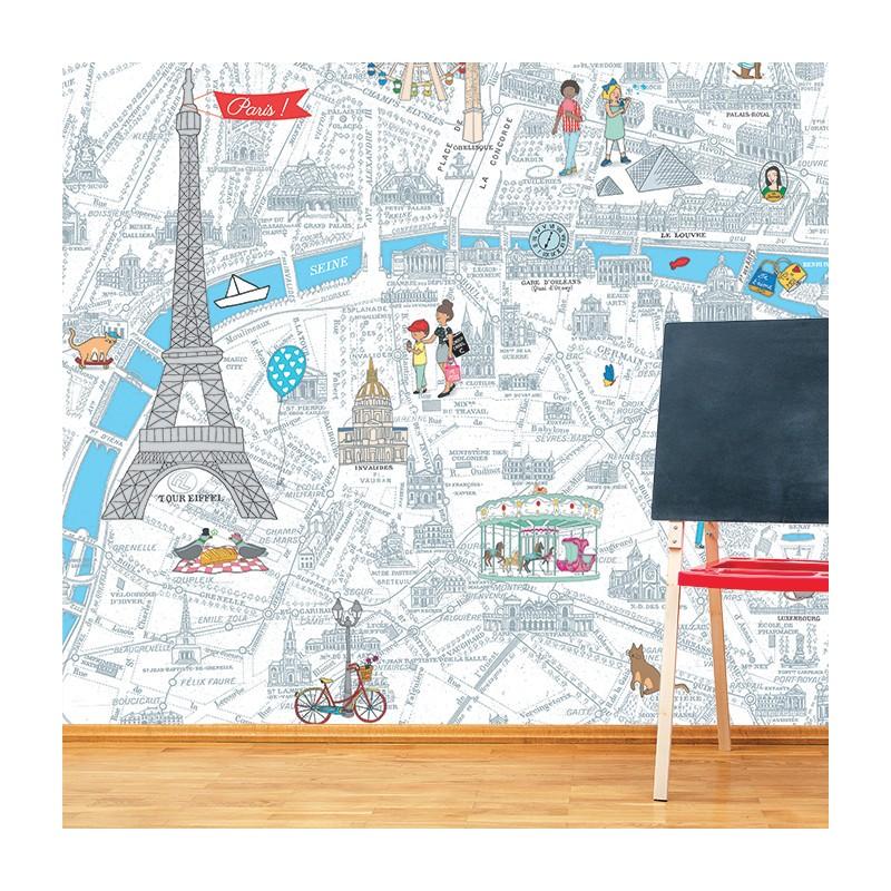 papier peint de paris plan g ant colorier. Black Bedroom Furniture Sets. Home Design Ideas