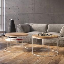 Table basse ronde double plateau - Métal et bois