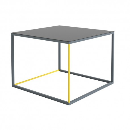 Table Basse 3 Couleurs Jaune Gris Noir