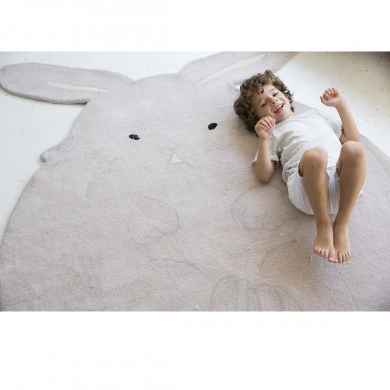 grand tapis lapin en laine pour enfants. Black Bedroom Furniture Sets. Home Design Ideas